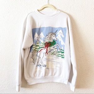 Vintage 80s Ugly Sweater Unicorn Winter Glitter